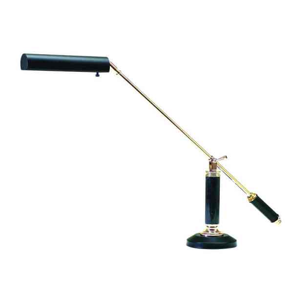 Polished Brass and Black Piano/Desk Lamp
