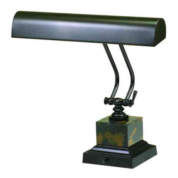 "14"" Mahogany Bronze/Black and Tan Marble Piano/DeskLamp"