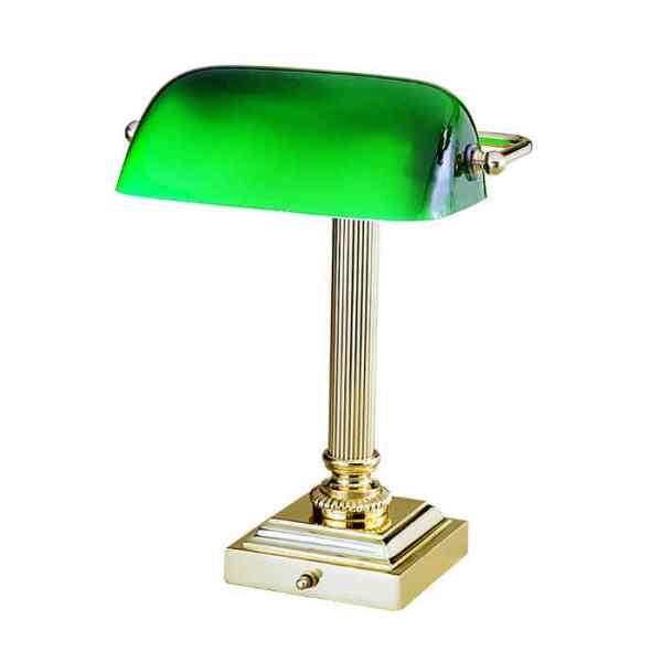 Shelburne Brass and Green Glass Desk Lamp