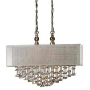 22033_Uttermost Santina 2 Light Crystal Pendant with a Drum Shade