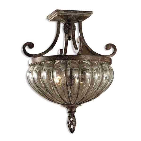 Uttermost Galeana 2 Light Glass Semi FlushMount 1