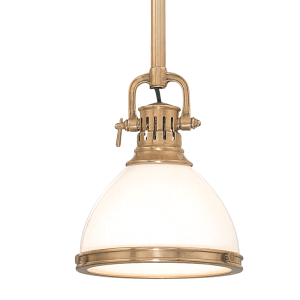 2621-AGB_Hudson Valley Randolph Single Light Adjustable Pendant in Opal Glass and Aged Brass