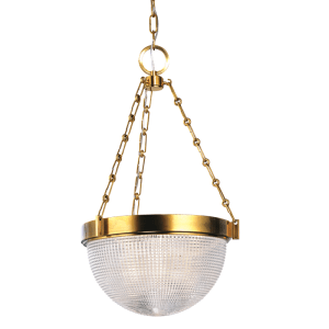 4413-AGB_Hudson Valley Winfield 2-Light Pendant in Textured Glass and Antique Brass