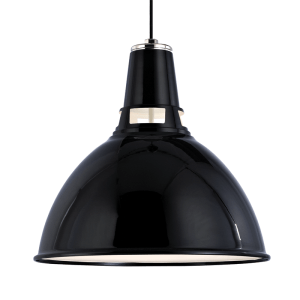 6812-BPN_Hudson Valley Lydney Single Light Metal Pendant in a Black Finish and a Polished Nickel Interior
