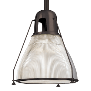 7308-OB_Hudson Valley Haverhill Single Light Pendant in an Old Bronze Finish with a Textured Glass Shade