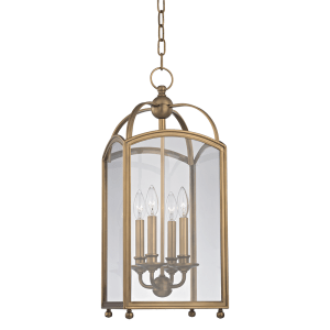 8410-AGB_Hudson Valley Millbrook 4-Light Pendant in as Aged Brass Finish