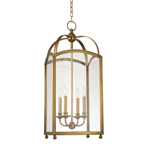 8414-AGB_Hudson Valley Millbrook 4-Light Lantern in an Aged Brass Finish