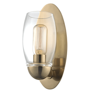 8841-AGB_Hudson Valley Pamelia Single Light Wall Sconce and Bathroom Wall Fixture in Blown Glass and Aged Brass