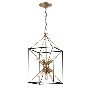 8912-AGB_Hudson Valley Glendale 9-Light Square Pendant in an Aged Brass Finish
