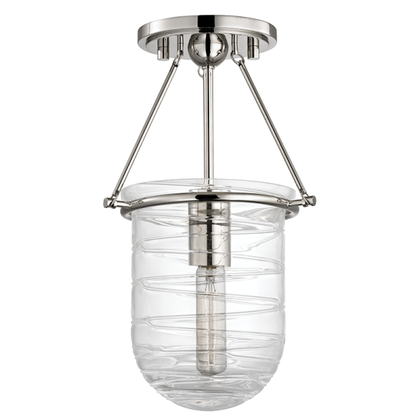 200-PN_Hudson Valley Willet Single Light Semi-Flush Ceiling Mount Fixture in Blown Glass with Polished Nickel Accents