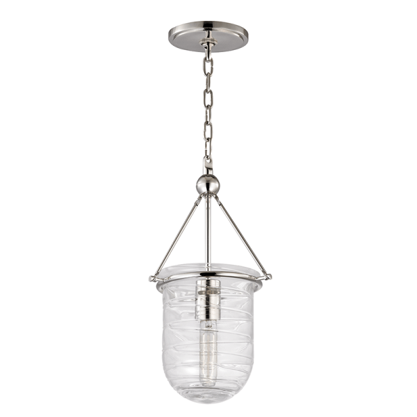 210-PN_Hudson Valley Willet Single Light Pendant with a Blown Glass Bell Jar Shade and Polished Nickel Accents