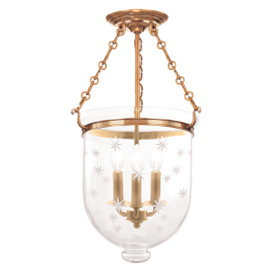 253-AGB-C3_Hudson Valley Hampton 3-Light Semi-Flush Mount Ceiling Fixture in Patterned Glass with Aged Brass Accents