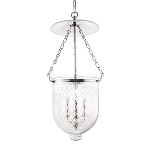 254-PN-C2_Hudson Valley Hampton 3-Light Lantern and Pendant in Textured Glass with Polished Nickel Accents
