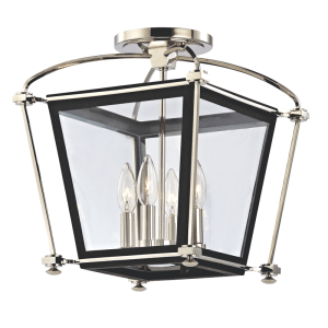 3610-PN_Hudson Valley Hollis 4-Light Lantern in Polished Nickel with Black Accents