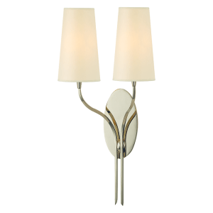 3712-PN_Hudson Valley Rutland 2-Light Wall Sconce in an a Polished Nickel Finish with a Cream Paper Shade