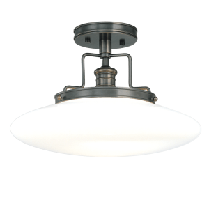 4205-OB_Hudson Valley Beacon Single Light Semi-Flush Mount Ceiling Fixture in Opal Glass with Old Bronze Accents