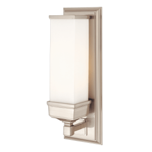 471-SN_Hudson Valley Everett Single Light Rectangular Glass Bath Sconce in a Satin Nickel Finish