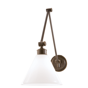 4731-OB_Hudson Valley Exeter Single Light Adjustable Wall Sconce in Opal Glass with Old Bronze Accents