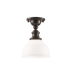 5911F-OB_Hudson Valley Sutton Single Light Semi-Flush Ceiling Fixture in Opal Glass with Old Bronze Accents
