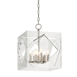 5916-PN_Hudson Valley Travis 8-Light Acrylic Pendant with Polished Nickel Accents