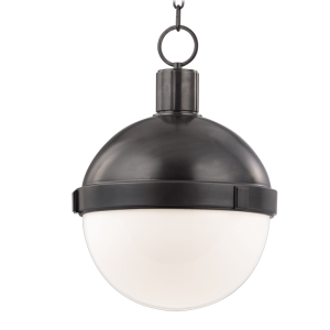 615-OB_Hudson Valley Lambert Single Light Pendant in an Old Bronze Finish with Opal Glass