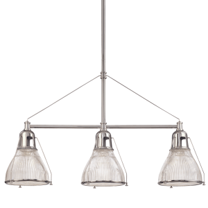 7313-PN_Hudson Valley Haverhill 3-Light Linear Pendant in a Polished Nickel Finish with Textured Glass Shades