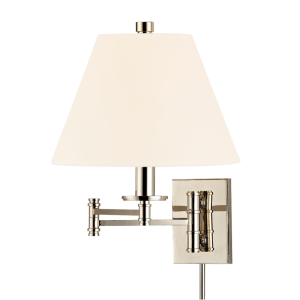 7721-PN-WS_Hudson Valley Claremont Single Light Wall Swing Arm Lamp in a Polished Nickel Finish