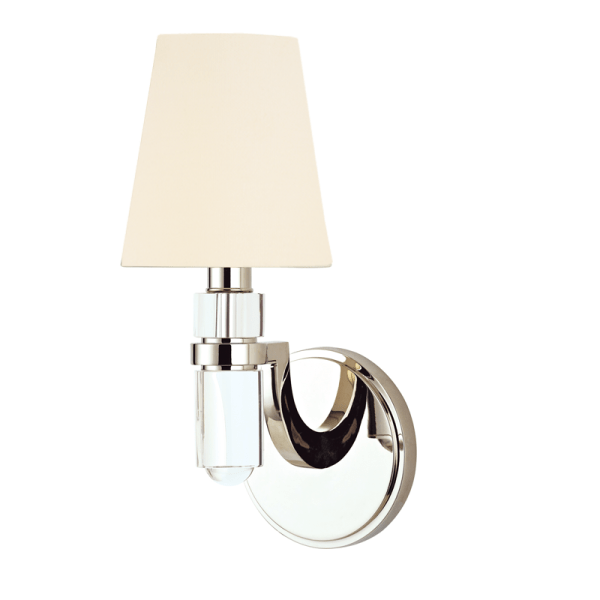 981-PN_Hudson Valley Dayton Single Light Wall Sconce in Crystal and Polished Nickel