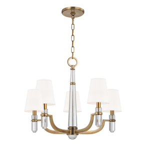 985-AGB_Hudson Valley 4-Light Dayton Chandelier in Aged Brass with Crystal Accents