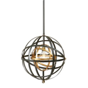 22038_Uttermost Rondure Single Light Pendant in Bronze and Brass Finishes