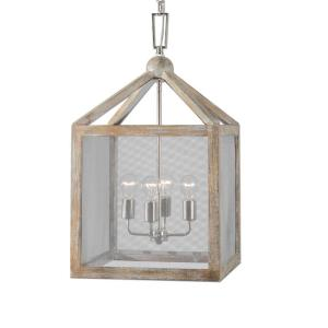 22050_Uttermost Nashua 4-Light Lantern in a Gray Taupe Washed Wood