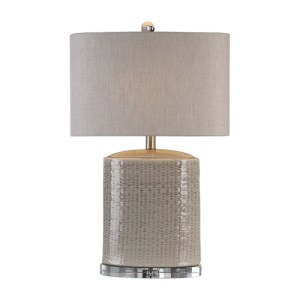 Uttermost Modia Textured Ceramic Oval Table Lamp in a Light-Gray Glaze 27231-1