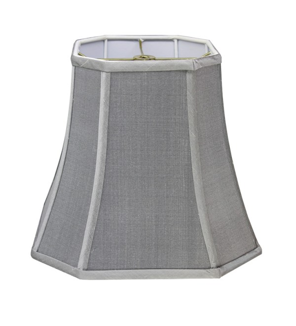 Cut Corner Square Bell Hardback Lampshade in Pewter Silk