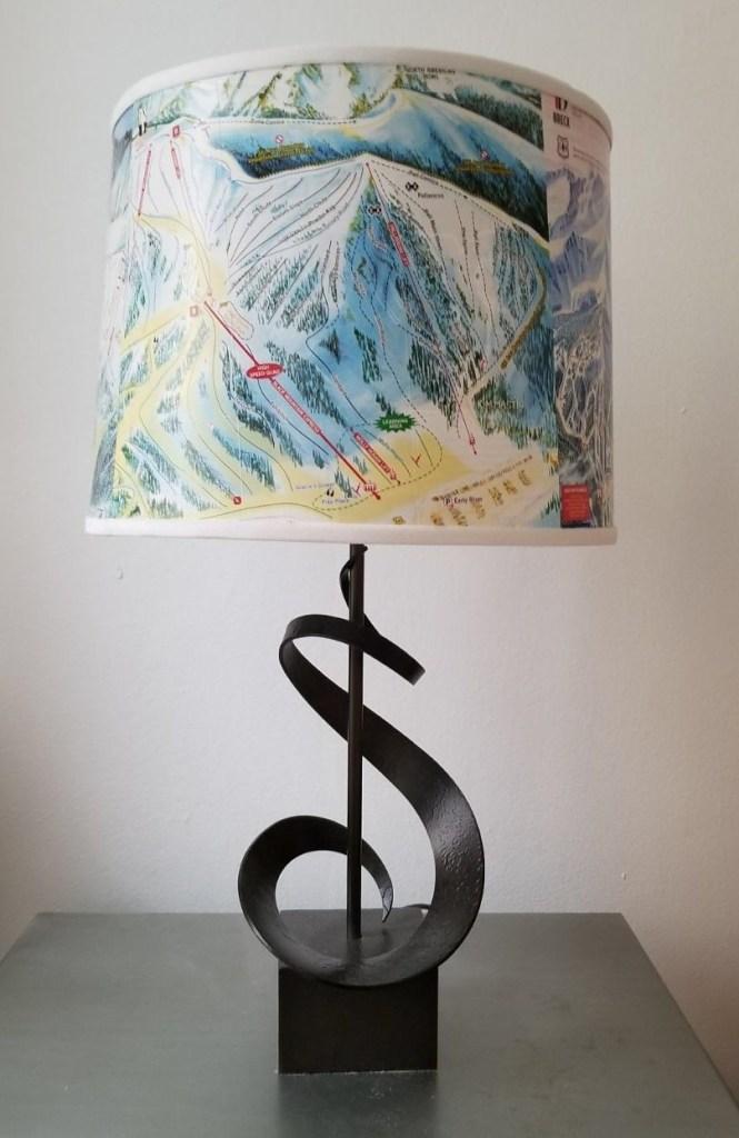 Custom Ski Trail Map Lampshade and lamp