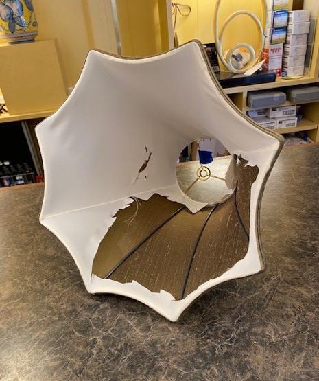 Silk Lampshade Repair Before