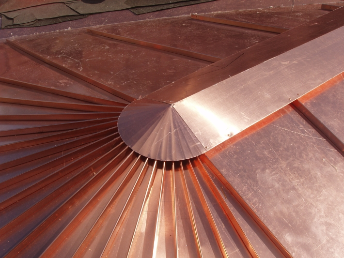 Copper Tapered Panel Roof And Cap