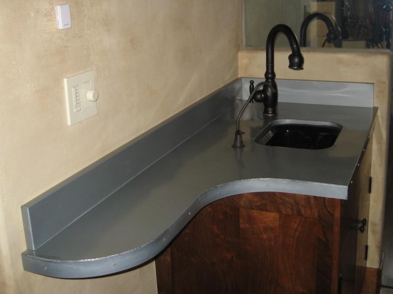 1 MM Blue-Gray Zinc Countertop with radius