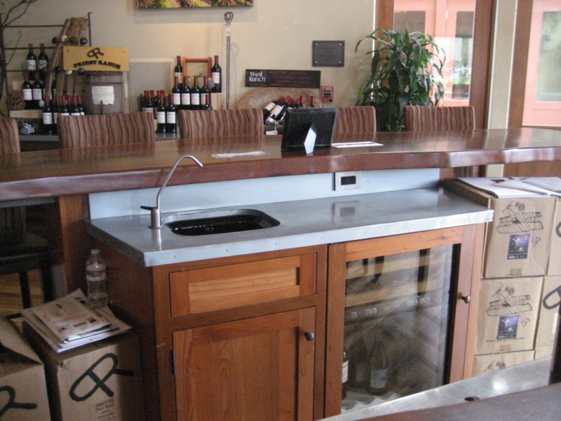 1 MM Blue Gray Zinc Countertop With Backsplash And Undermount Sink