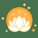 White lotus in orange circle icon