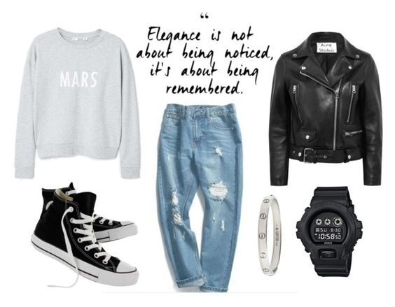 eather jacket and sneakers
