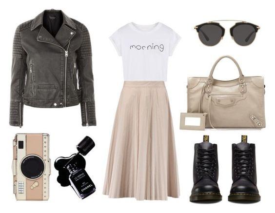 leather jacket and plissé skirt