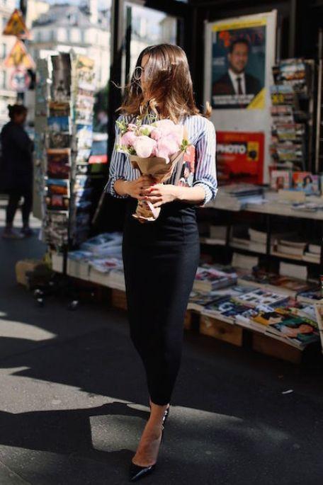 Cosa indossare ad un brunch di lavoro: la gonna a matitae le slingback