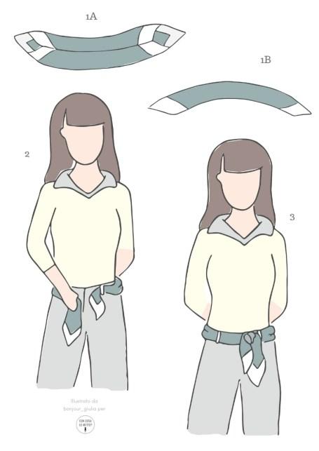 Come indossare il foulard: 5 idee facili e chic - istruzioni per annodarlo in vita