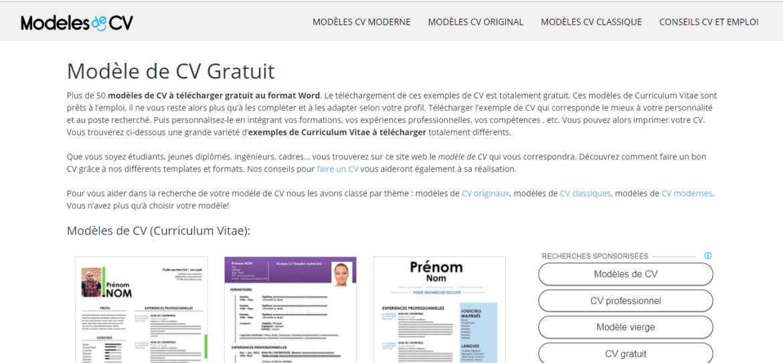 Site Modèles-de-CV pour télécharger des modèles de CV