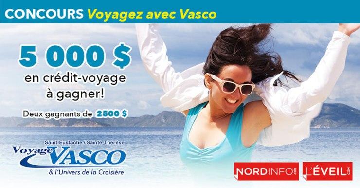 Gagner un crédit voyage de 5000$ de Voyage Vasco St-Eustache Ste-Thérèse