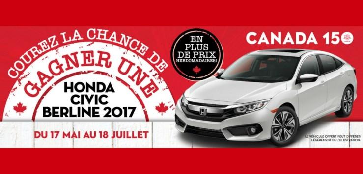 CONCOURS GAGNEZ UNE HONDA CIVIC BERLINE LX 2017