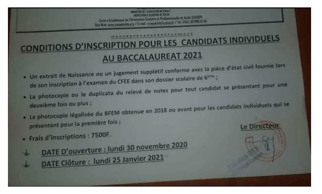 Conditions d'inscriptions au Baccalaureat 2021 pour les candidats  individuels   Concoursn
