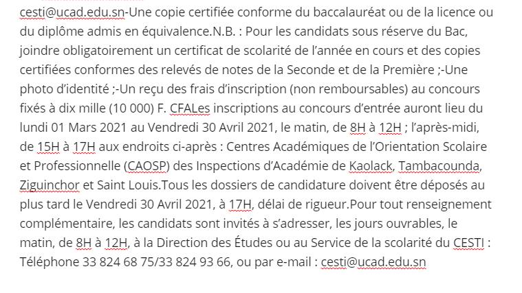 Concours D'entrée Au Cesti 2021 : Ouverture Des Inscriptions Et Conditions D' Accès