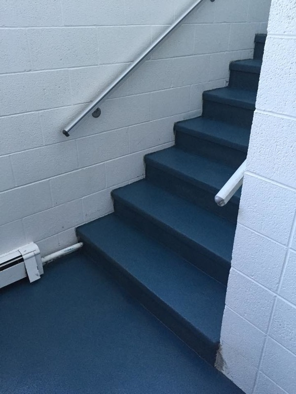 Rhino Flooring Of St Marys Concrete Coatings | Carpet For Garage Stairs | Concrete | Stair Riser | Concrete Stairs | Stair Runner | Garage Floor