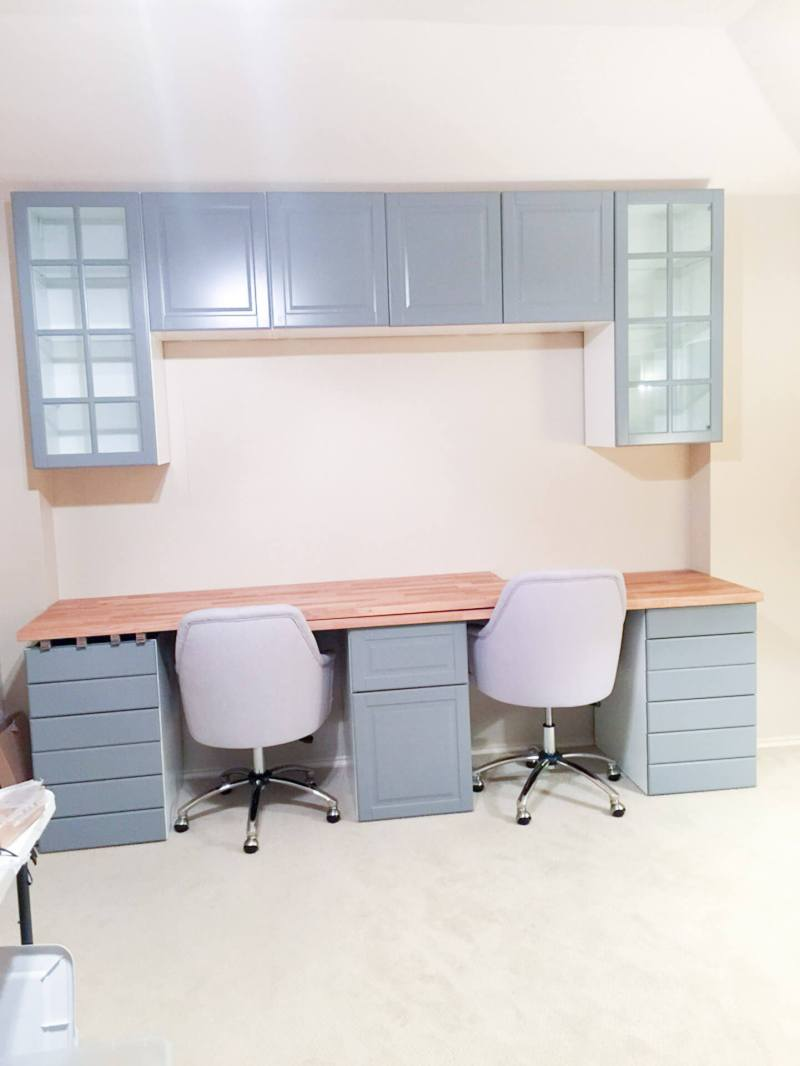 IKEA Cabients, IKEA Built Ins, IKEA Cabinets in Office, DIY Desk, IKEA Cabinet Drawers, IKEA Cabinet Doors, Office Makeover, Home Office, Double Desk, IKEA Cabinet Hack, IKEA Cabinet Storage
